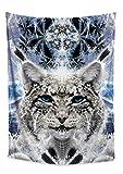 Lucid Eye Studios Blue Lynx Tapestry- Fractal Wall Tapestry- Cool Dorm Tapestry- Animal Wall Hanging- Mountain Wall Art- Cat Dorm Wall Decor