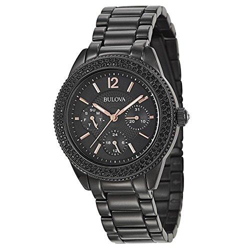 Bulova Ladies Crystal 98N105 Black Bracelet Watch