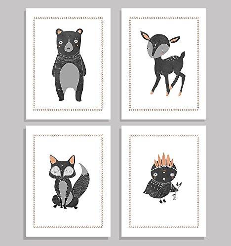 - Children's Wall Art Prints, Boho Woodland Animal Collection, Set of Four 11x14 inch Print, Forest Nursery, Gender Neutral Nursery Decor, Bear, Deer, Owl, Fox, Woodland Nursery, Kids Room