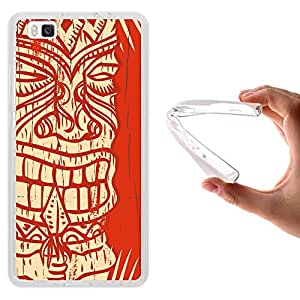 Funda Huawei P8 Lite, WoowCase [ Huawei P8 Lite ] Funda Silicona Gel Flexible Madera Azteca, Carcasa Case TPU Silicona - Transparente