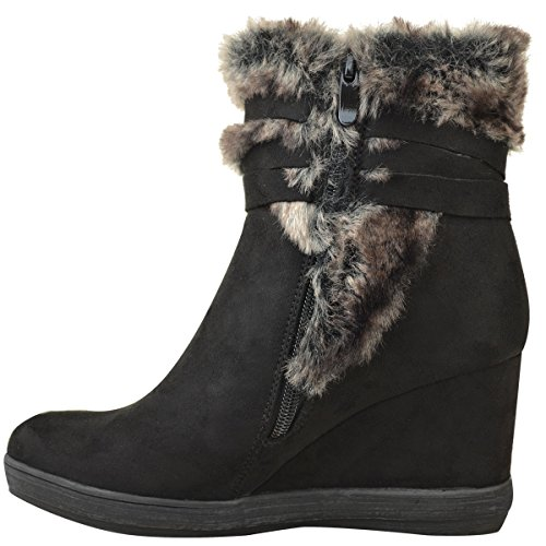 Womens Inner Lined Size Wedge Faux Suede Shoes Fashion Winter Thirsty Faux Boots Ankle Fur Black Rpxg5w