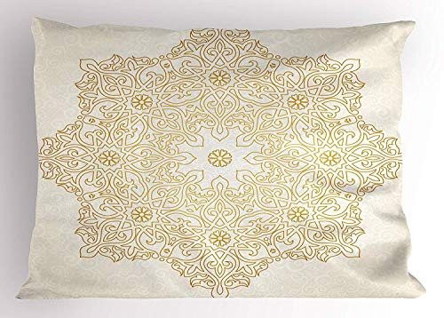 (K0k2t0 Mandala Pillow Sham, Antique Pattern Blooming Asian Garden Theme Filigree Style Traditional, Decorative Standard Queen Size Printed Pillowcase, 30 X 20 inches, Coconut Earth Yellow)