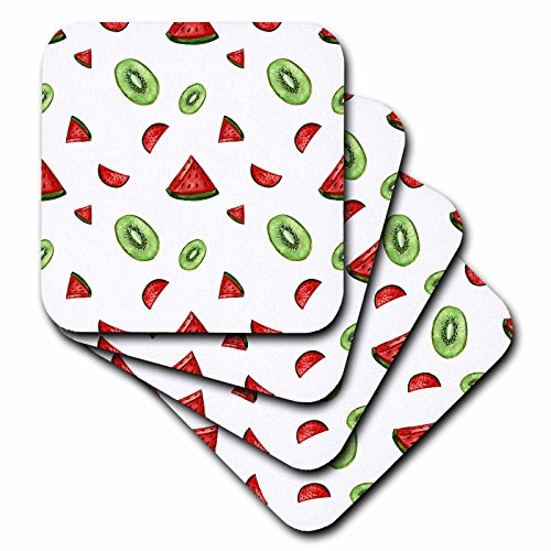 Glass Kiwi Tile (3dRose Anne Marie Baugh - Patterns - Watercolor Watermelon and Kiwi Slices Pattern - set of 4 Ceramic Tile Coasters (cst_263485_3))