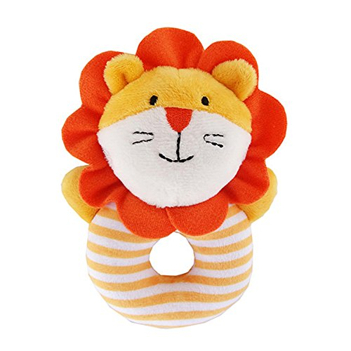 Faironly Baby Rattle Soft Cotton Ring Bell Toy Cute Animal Shape for Kids Infant Newborns Orange Lion