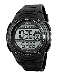 SNE Men's Digital Outdoor Sports Multi Function Waterproof Big Dial Wrist Watches Black SK1203A