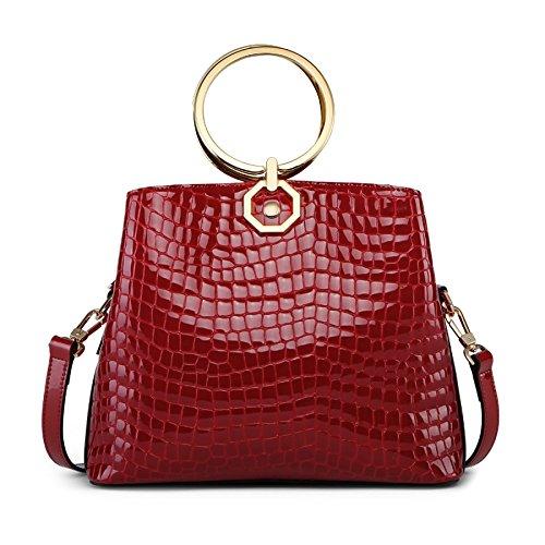Kyokim Laptop Bag Leather Shoulder Bag Ladies Ring Bucket Bag Crocodile Pattern Network