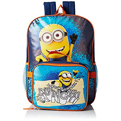 hot sale 2017 Despicable Me Boys' Despicable Me Dual Backpack With Detachable Lunch Bag