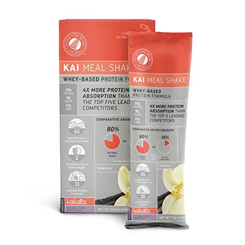 UPC 019962229862, Kai Whey Based Meal Replacement Shake Powder: Vanilla - 6 Stick Packs - Powdered Natural Protein Mix - Hunger Control, Energy, Diet Weight Loss, Prebiotic Fiber, Super Foods
