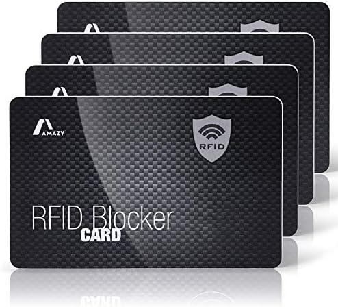 AmazyRFID & NFC Active Blocker Karten (4Stück) inkl. Kofferanhänger – 100% Schutz vor Identitäts- und Datendiebstahl – Kartenschutz für Kreditkarten, EC-Karten & Ausweis(Carbon)