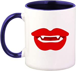 Colorful Coffee Mug Vampire Fangs Lips Kiss Kissing Mouth Style Al Funny and Novelty Humor & Smiling Ceramic Tea Cup 11 Oz Blue Inner Handle