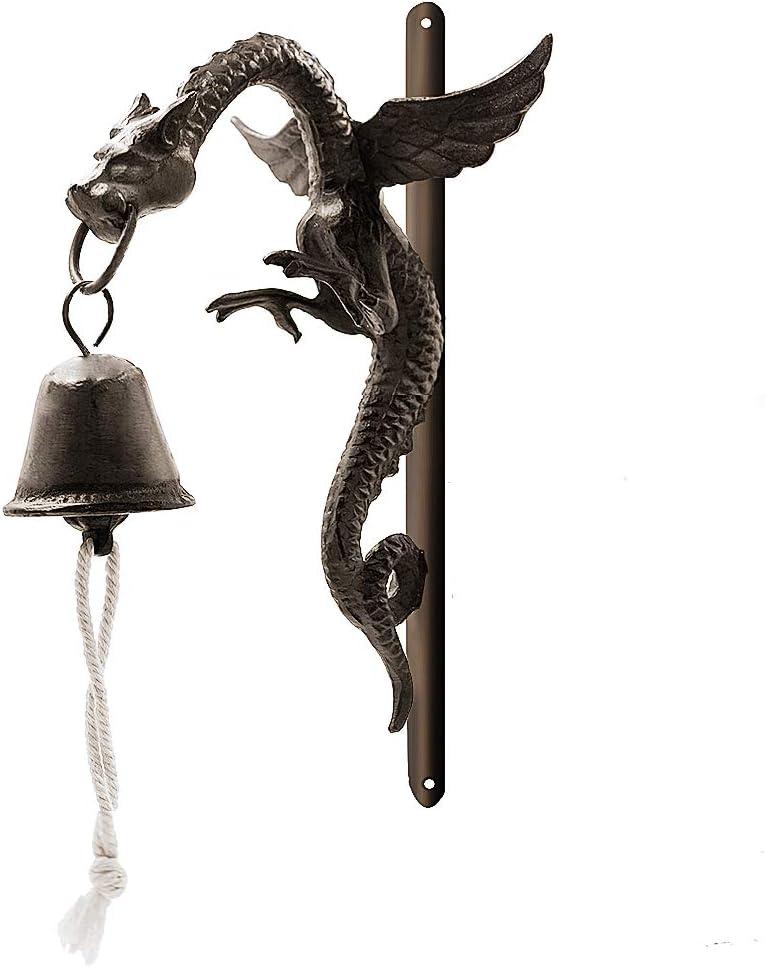 DreamsEden Wall Mount Cast Iron Doorbell, Rustic Dragon Art Door Bell for Garden Yard Home Decor