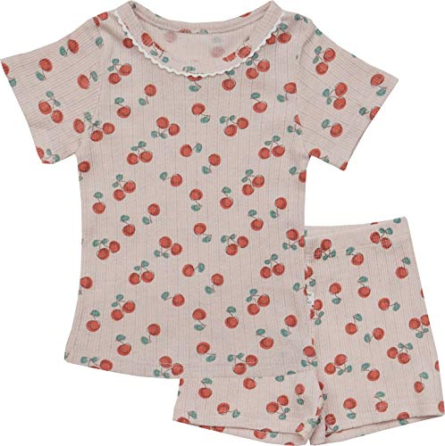 (AVAUMA Newborn Baby Little Boy Girl Cherry Pattern Pajamas Summer Ribbed Short Sets Pjs Kids Clothes (XS/Pink))