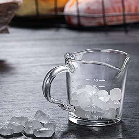 Baoblaze Multifuncional Espresso taza de medición de vidrio de café resistente al calor doble Caño con mango onza taza para té whisky vino café
