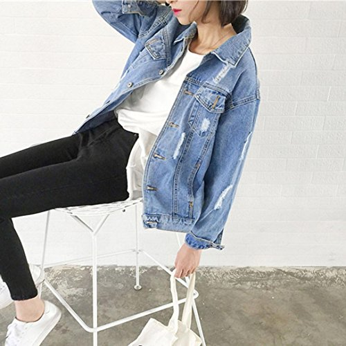 Pervobs Blouses, Big Promotion! Women Autumn Winter Denim Jacket Vintage Long Sleeve Loose Jeans Coat Outwear (L, Blue) by Pervobs Women Long-Sleeve Shirts (Image #2)