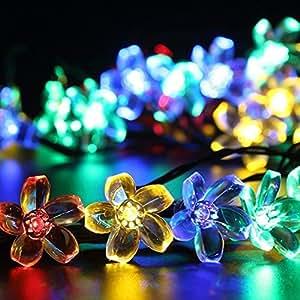 dolamen Cerezo En Forma De Luces De Cadena De Justo, 23ft 50luces LED solar exterior, IP65impermeable solar guirnalda luces Ambiente iluminación para jardín, patio, jardín, hogar, Árbol de Navidad Party &, y todos los otros Festivales