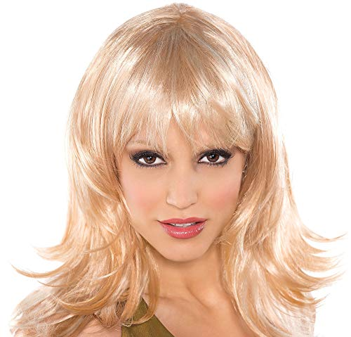 AMSCAN Flirty Feathered Wig Halloween Costume Accessories, Blonde, One Size -