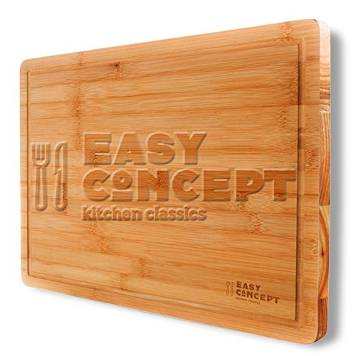 Extra Large Bamboo Cutting Board with Drip Groove by Easy Concept - Stronger Than Plastic Ware - Thick and Heavy Duty, Stylish Serving and Chopping Board - For Meat and Vegetables - 17 by 12.5 Inch