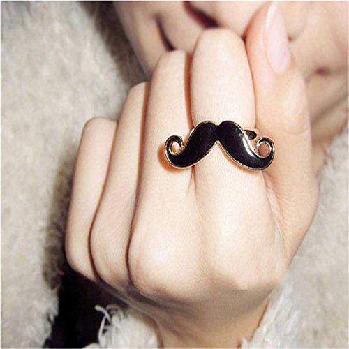 - Hubry (TM)Fashion Retro Handlebar Moustache Enamel Glaze Cute Avanti Beard Finger R i n g Black Aug 31