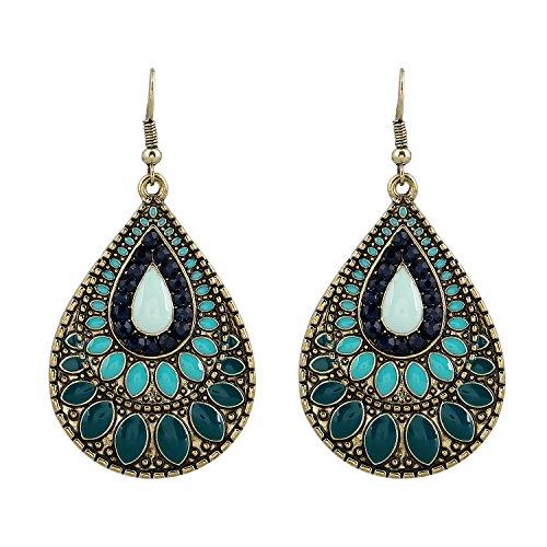 D EXCEED Womens Vintage Handmade Enamel Teardrop Metal Dangle Earrings