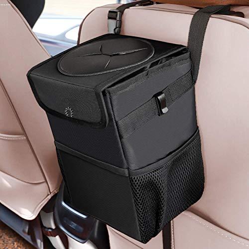 Car Trash Can with Lid and Storage Pockets – Waterproof Car Trash Bag Hanging, 100% Leak-Proof Automotive Garbage Can, Multipurpose Trash Bin for car