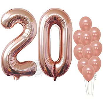 Rose Gold Numbers Balloon 20 Large Pack Of 12