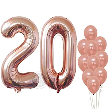 Rose Gold Numbers Balloon 20 Large Pack Of 12 20th Birthday Balloons Party