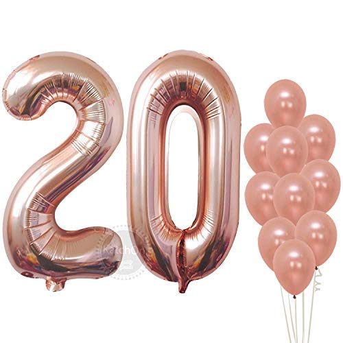 Rose Gold Numbers Balloon 20, Large, Pack of 12 | 20th Birthday Balloons Party Decorations Supplies Kit | Number 2 and 0 Balloons | Foil Mylar and Latex Balloons | 20 Year Old