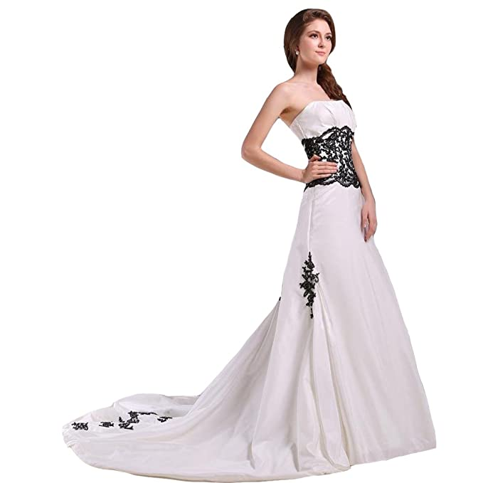 Kivary Strapless White And Black Lace Appliques Beaded Gothic Wedding Dresses