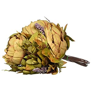 Luyue Vintage Artificial Peony Silk Flowers Bouquet Home Wedding Decoration 10