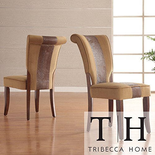 Metro Shop TRIBECCA HOME Andorra Velvet and Faux Alligator Leather Dining Chair (Set of 2) (Dining Room Leather Cabinet)