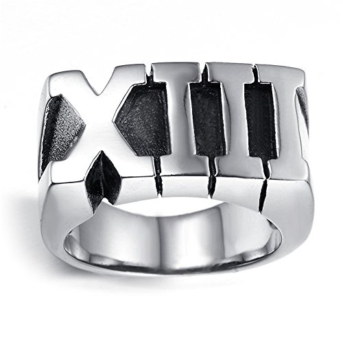 Mens Stainless Steel Ring, Vintage, Biker, Silver, Black, Roman numeral, Thirteen, KR2051 (Roman Numeral Anniversary Rings)
