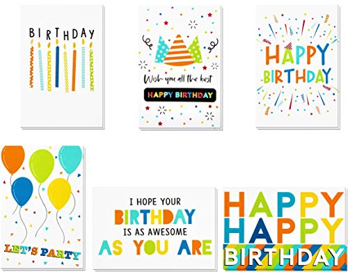 Birthday Cards -60 Pack Birthday Greeting Cards In Vibrant Colors -Happy Birthday Cards -Bulk Birthday Cards- Birthday Cards For Kids, Girls, Boys, Mom, Dad, Friends -Include 60 Envelopes- 4 x 6 Inch (Big Happy Birthday Card)