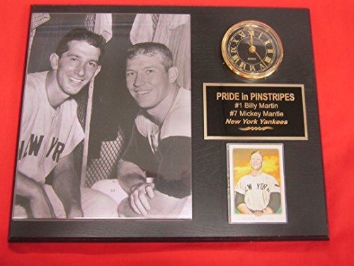Billy Martin Mickey Mantle YANKEES Collectors Clock Plaque w/8x10 Photo and Card