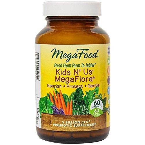 MegaFood - Kids N Us MegaFlora, Probiotic Support for Digestion, Bowel Regularity, Intestinal Balance, and Immune Health, 5 Billion CFU, Vegetarian, Gluten-Free, Non-GMO, 60 Count