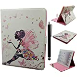 iPad 2 Case,iPad 3 Case,iPad 4 Case,Qbily Fairy Girls Pattern Flowers Pink PU Leather Cases Cover Glitter Bling Diamond Decoration Scratch-Resistant Lining Shell with Magnetic Closure Credit Card Slot Pouch Stand Protective Case for Apple iPad 2/3/4 Tablet with Anti-glare Clear Display Screen Protector Film and Black Stylus Pen (Fairy Girl)