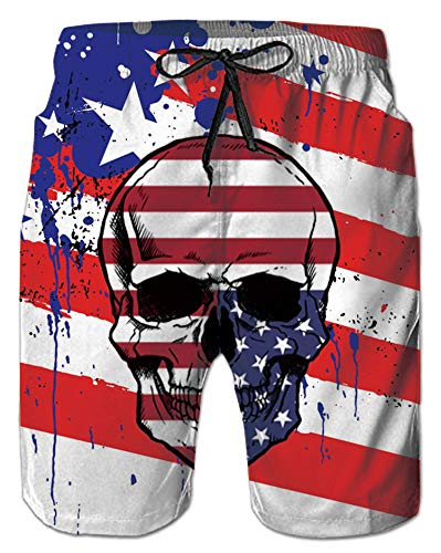 Alistyle Mens American Flag Swim Trunks Summer Cool Quick Dry Board Shorts Bathing Suit with Side Pockets Mesh Lining
