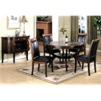 Roundhill Furniture 5-Piece Solid Wood Round Top Dining Set, Includes Table with 4 Chairs, Cherry Finish