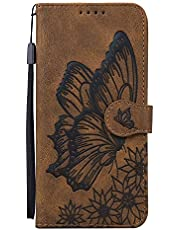 Miagon Wallet Case for OPPO A9 2020,Flip PU Leather Case with Card Slots and Stand Feature Retro Butterfly Design Protective Cover,Brown