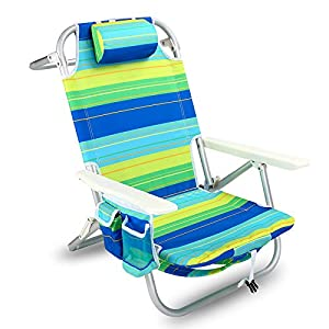 YATIO--- 5 Positions Lay Flat Backpack Beach Chair Camping Chair, Aluminum Lightweight, Insulated Cooler, Drink Holder, Adjustable Pillow,Blue/Green Stripe