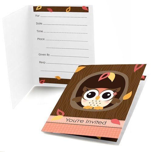 Owl Girl - Fill-In Baby Shower or Birthday Party Invitations (8 count)