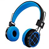 Mokata Kids Foldable Headphones Wireless Bluetooth Headphones for Kids Over Ear Built-in Mic SD Card Slot 3.5mm Audio Jack Cable for PC Tablet Iphone Ipod Cellphone B013 Blue