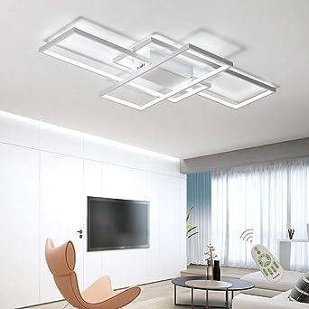 Moderna lámpara LED de techo para salón, regulable, pantalla de acrílico, lámpara de techo de diseño cuadrado, lámpara de comedor con mando a distancia, lámpara de techo, lámpara colgante, cocina: Amazon.es: Iluminación