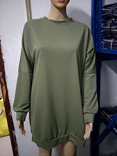 Sweater Unita Rotondo Manica Da Lunga Oufour E Tinta Casual Donna Verde Maglieria Mini Collo Autunno Maglione Vestiti Partito Jumper Tunica Felpe Inverno Pullover CqqO0xawz