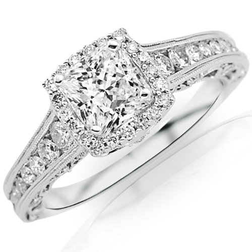 1.5 Carat Princess Cut Designer Halo Channel Set Round Diamond Engagement Ring with Milgrain (I Color, VS1 Clarity) (Channel Set Round Cut Diamond)