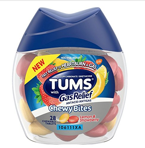 28 Count (1 Package) Tums Chewy Tablets with Gas Relief - Lemon And Strawberry - Antacid Plus Gas Relief