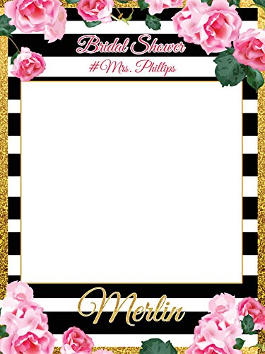 Party Props Online (Custom Floral Bridal Shower Photo Booth Frame - Sizes 36x24, 48x36; Personalized Bridal Shower Decorations, Handmade Party Supply Photo Booth Props)
