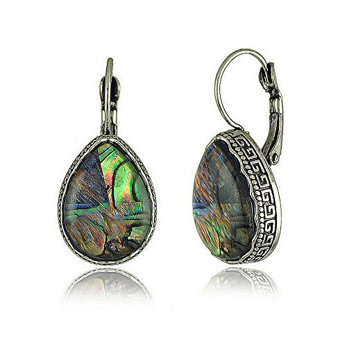 Autudress Women's Wedding Bridal Alloy Inlay Sea Abalone Shell Lever Back Dangle Teardrop Earrings (Shell Inlay Earrings)