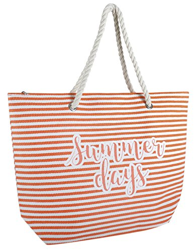Days Womens Metallic Canvas Bag Beach Handbag Reusable Orange Dora Tote Beach Bag Summer Shoulder Striped Lora Summer Holiday 1qUTAC
