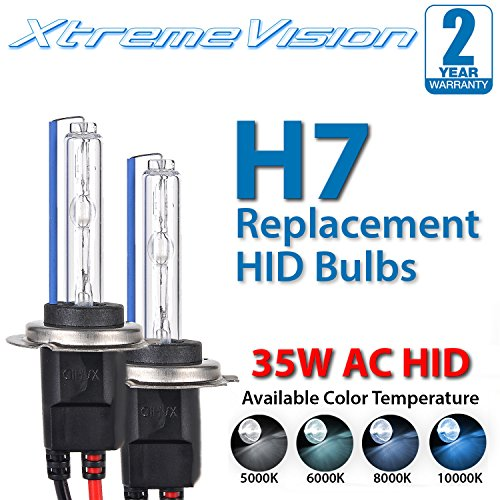 XtremeVision AC HID Xenon Replacement Bulbs - H7 10000K - Dark Blue (1 Pair) - 2 Year Warranty (Metal Base) (55w Xenon Blue Bulbs)