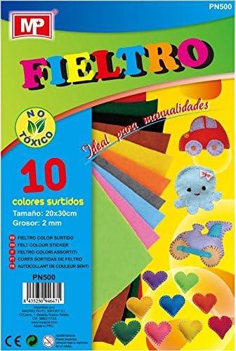 MP PN500 - Pack de 10 laminas de fieltro, multicolor: Amazon.es: Oficina y papelería